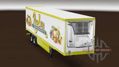 La peau Payer-Moins de Supermarchés sur la remor pour American Truck Simulator