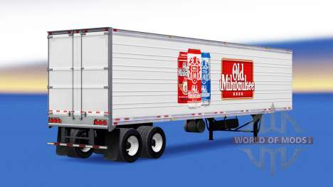La peau Old Milwaukee sur la remorque pour American Truck Simulator