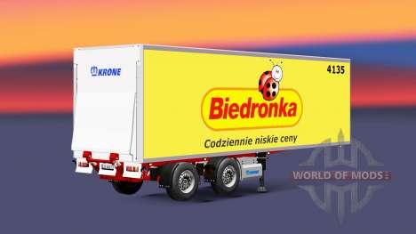 Semitrailer refrigerator Krone Biedronka für Euro Truck Simulator 2