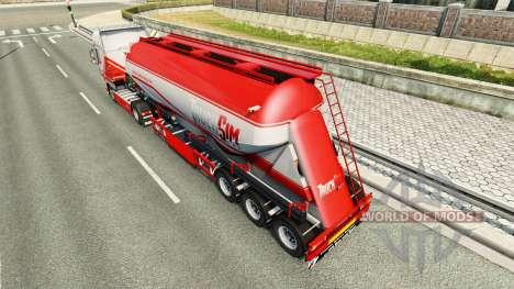 TruckSim Haut auf die Auflieger-Zement-LKW für Euro Truck Simulator 2