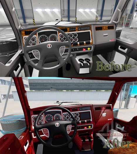 Der Innenraum der v1.1 für Kenworth W900 für American Truck Simulator