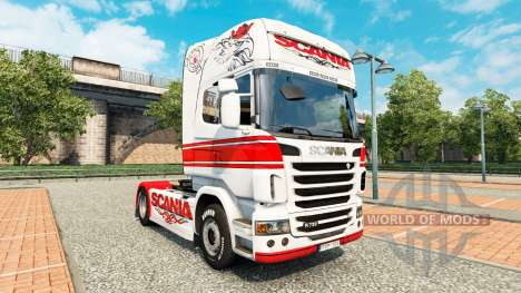 Haut-Weiss-rot auf eine Zugmaschine Scania für Euro Truck Simulator 2