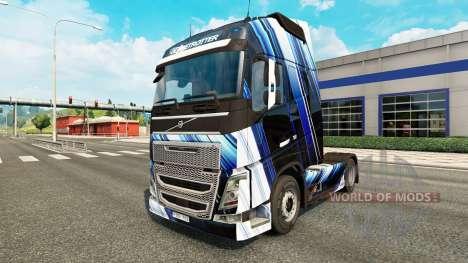 Les Rayures bleues de la peau pour Volvo camion pour Euro Truck Simulator 2