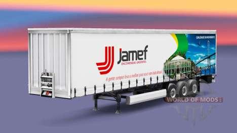 Haut Jamef Logistic-Anhänger auf einen Vorhang für Euro Truck Simulator 2