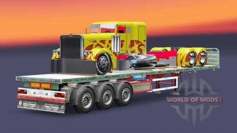 La semi-remorque plate-forme de fret camion Pete pour Euro Truck Simulator 2