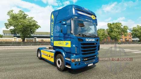 La peau de La Poste pour tracteur Scania pour Euro Truck Simulator 2