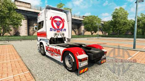 Blanc de peau-rouge sur un tracteur Scania pour Euro Truck Simulator 2