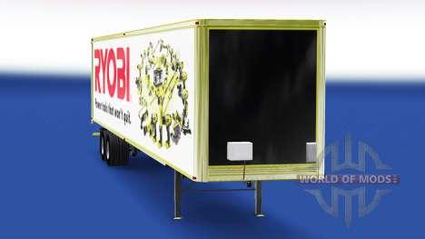 La peau Ryobi sur la remorque pour American Truck Simulator