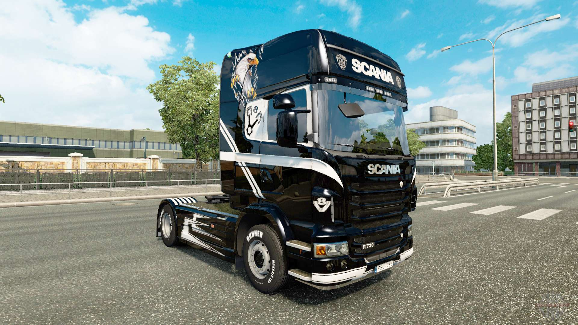 v8 skin f r scania lkw f r euro truck simulator 2. Black Bedroom Furniture Sets. Home Design Ideas