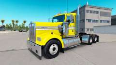 Haut Glatt, Gelb, auf der truck-Kenworth W900