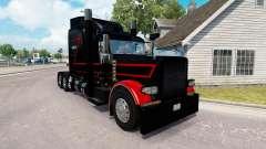 La peau Noire Et Rouge pour le camion Peterbilt