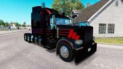La peau Noire SR sur le camion Peterbilt 389