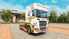 La peau de l'or Blanc sur tracteur Scania