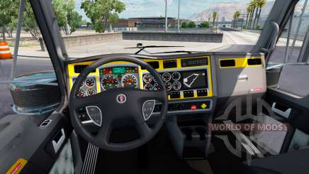 L'intérieur est de couleur Jaune-gris pour Kenworth W900 pour American Truck Simulator