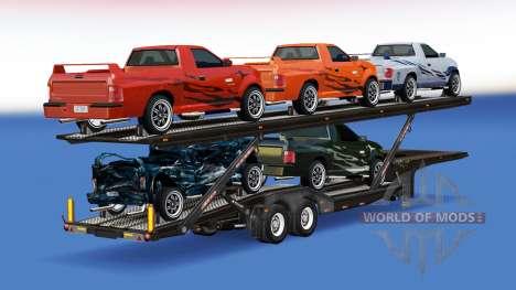 transporteur de voitures avec des voitures de flatout 2 pour american truck simulator. Black Bedroom Furniture Sets. Home Design Ideas