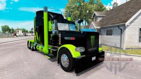 skin monster energy gr n auf der truck peterbilt 389 f r. Black Bedroom Furniture Sets. Home Design Ideas