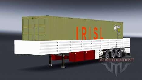 Flachbett-Auflieger mit container-Fracht für American Truck Simulator