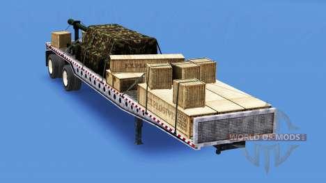 Die Auflieger-Plattform mit verschiedenen Lasten für American Truck Simulator