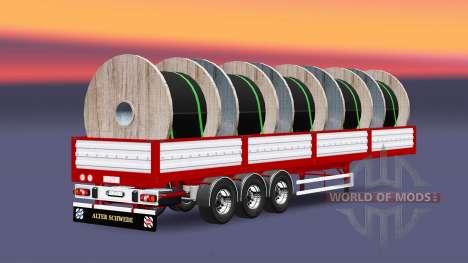 Plateau semi-remorque avec câble de charge pour Euro Truck Simulator 2