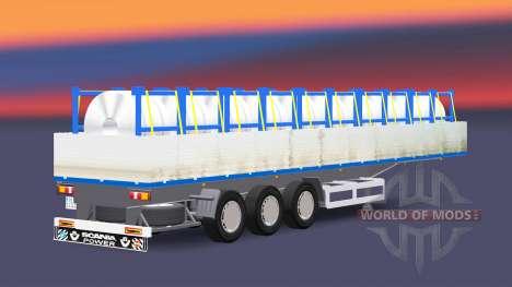 Flachbett-Auflieger mit einer Ladung von Stahl-c für Euro Truck Simulator 2