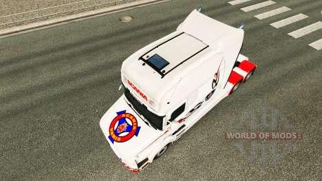 La peau blanche pour camion Scania T pour Euro Truck Simulator 2