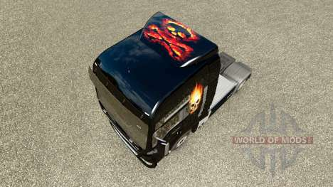 Haut, Schädel auf Feuer auf einem Traktor MAN für Euro Truck Simulator 2
