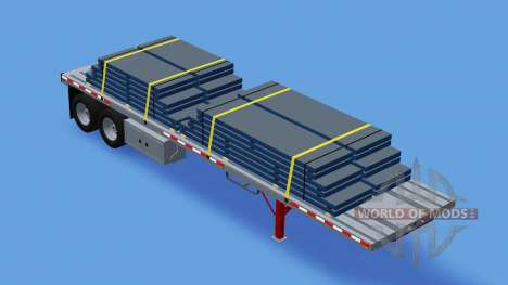 Deux essieux de la semi-remorque à plate-forme pour American Truck Simulator