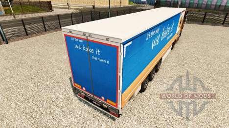 La peau Greggs sur un rideau semi-remorque pour Euro Truck Simulator 2