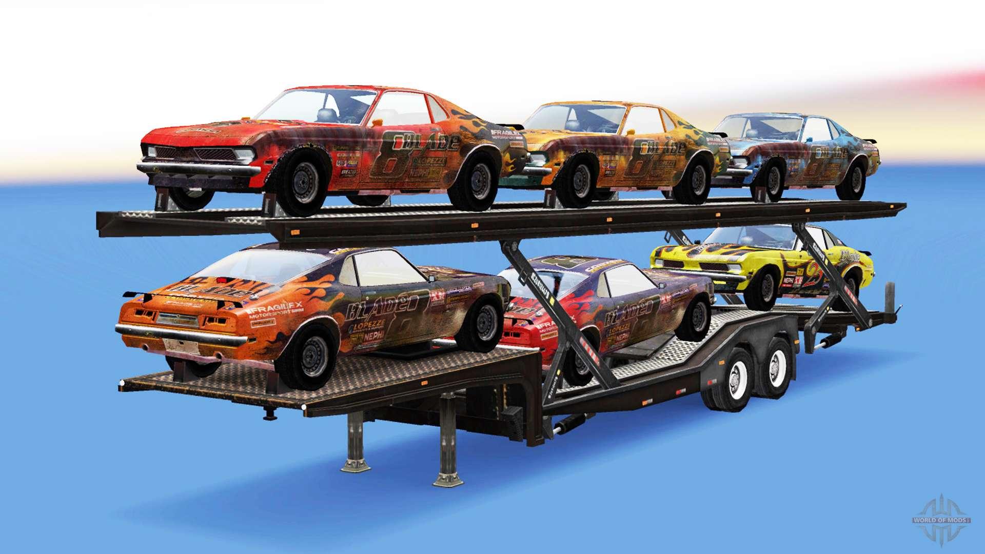 transporteur de voitures avec des voitures de flatout pour american truck simulator. Black Bedroom Furniture Sets. Home Design Ideas