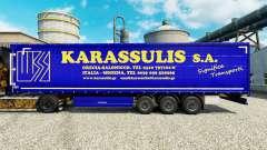 La peau Karassulis S. A. sur les semi-remorques