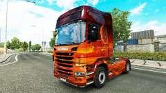 La peau de l'Espace sur le tracteur Scania