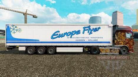 La peau Europe Flyer sur un rideau semi-remorque pour Euro Truck Simulator 2
