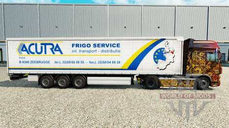 La peau Acutra sur un rideau semi-remorque pour Euro Truck Simulator 2