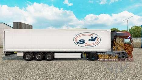 Haut Der Strahlen De Vries Vorhang semi-trailer für Euro Truck Simulator 2