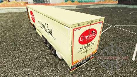 Haut Ginsters auf einen Vorhang semi-trailer für Euro Truck Simulator 2