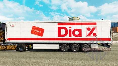 La peau Dia sur un rideau semi-remorque pour Euro Truck Simulator 2