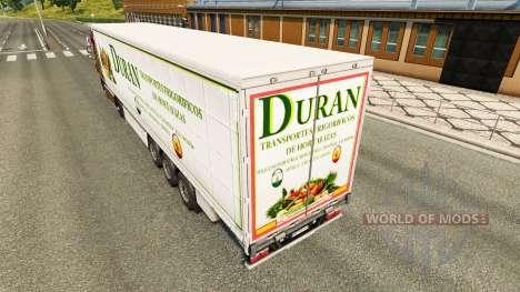 La peau Duran sur un rideau semi-remorque pour Euro Truck Simulator 2