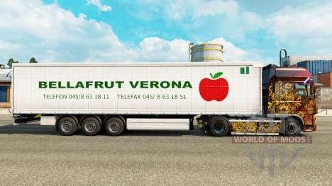 La peau Bellafrut Vérone le rideau semi-remorque pour Euro Truck Simulator 2