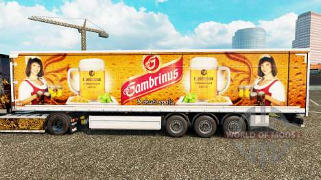 La peau Gambrinus sur un rideau semi-remorque pour Euro Truck Simulator 2