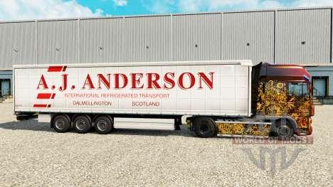Haut A. J. Anderson auf einen Vorhang semi-trail für Euro Truck Simulator 2