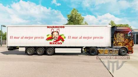 La peau Mariscos Recio sur un rideau semi-remorq pour Euro Truck Simulator 2