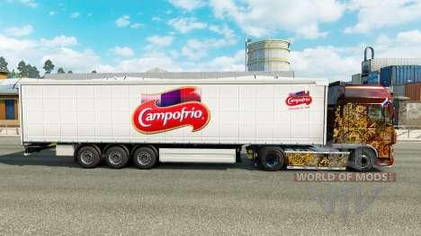 La peau Campofrio sur un rideau semi-remorque pour Euro Truck Simulator 2