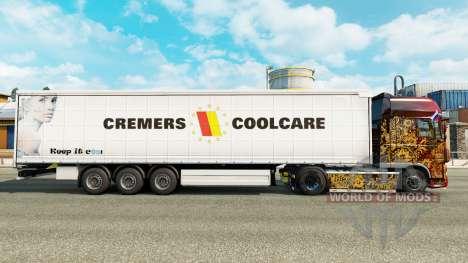 La peau Cremers Coolcare sur un rideau semi-remo pour Euro Truck Simulator 2