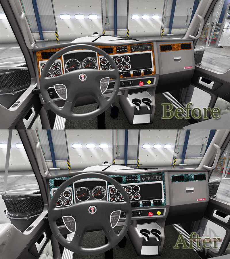 Bois l 39 int rieur pour kenworth w900 pour american truck for Interieur accessoires