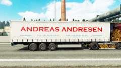Haut Andreas Andresen auf Vorhang semi-trailer