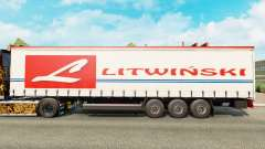 Haut Litwinski auf einen Vorhang semi-trailer