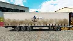 Haut Transkap auf einen Vorhang semi-trailer