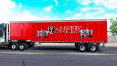 Haut Tecate auf einen Vorhang semi-trailer