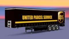 La peau United Parcel Service sur un rideau semi