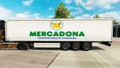 Haut Mercadona auf einen Vorhang semi-trailer